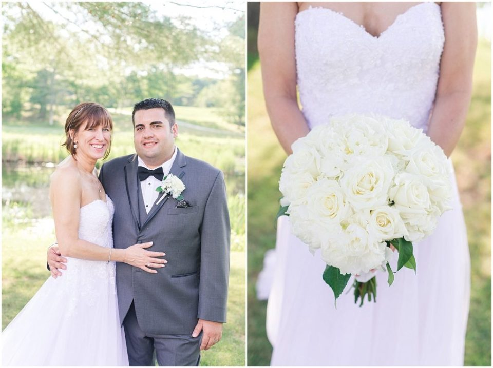 bride and groom portrait and a white bridal bouquet.