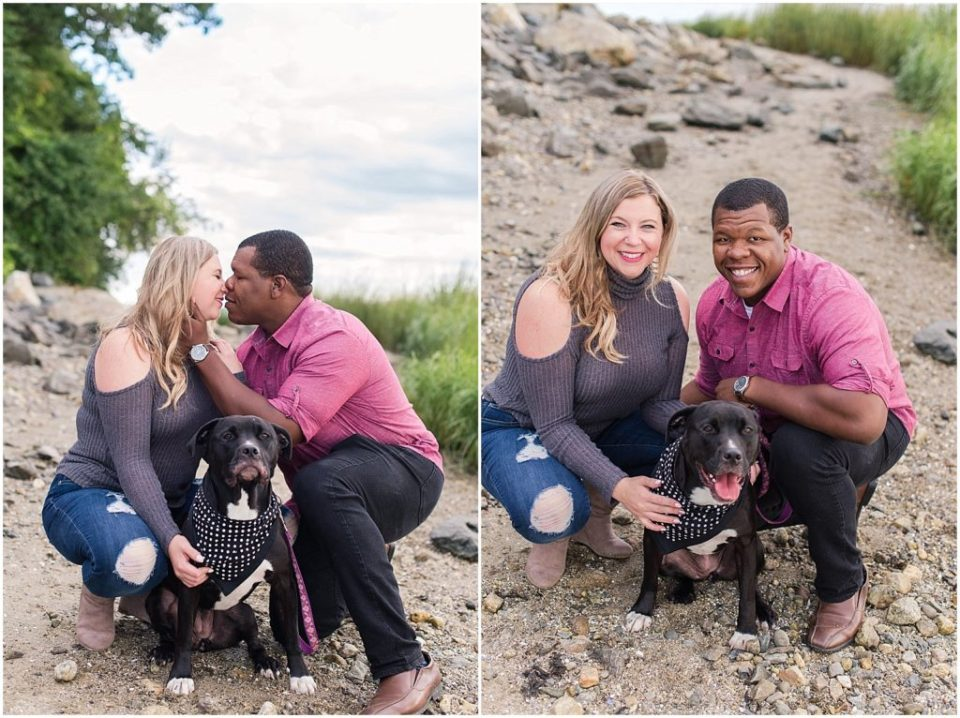 Mykayla and Sean with their dog during their mackworth island engagement session.