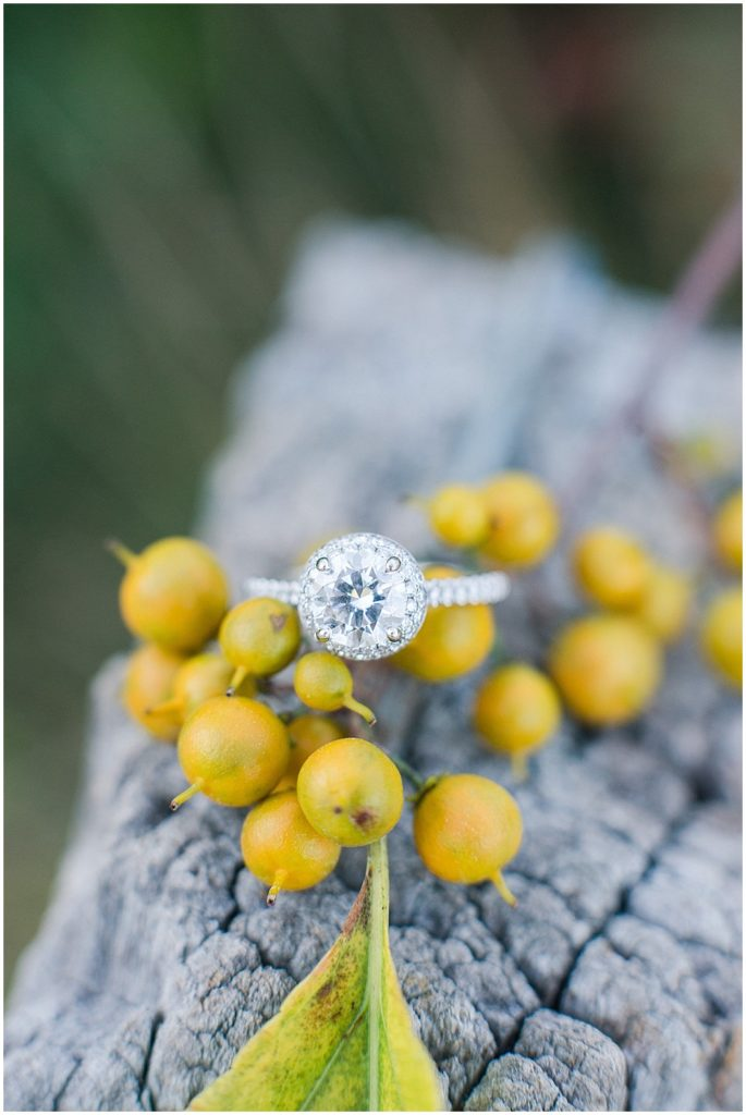 Engagement ring on yellow berries.