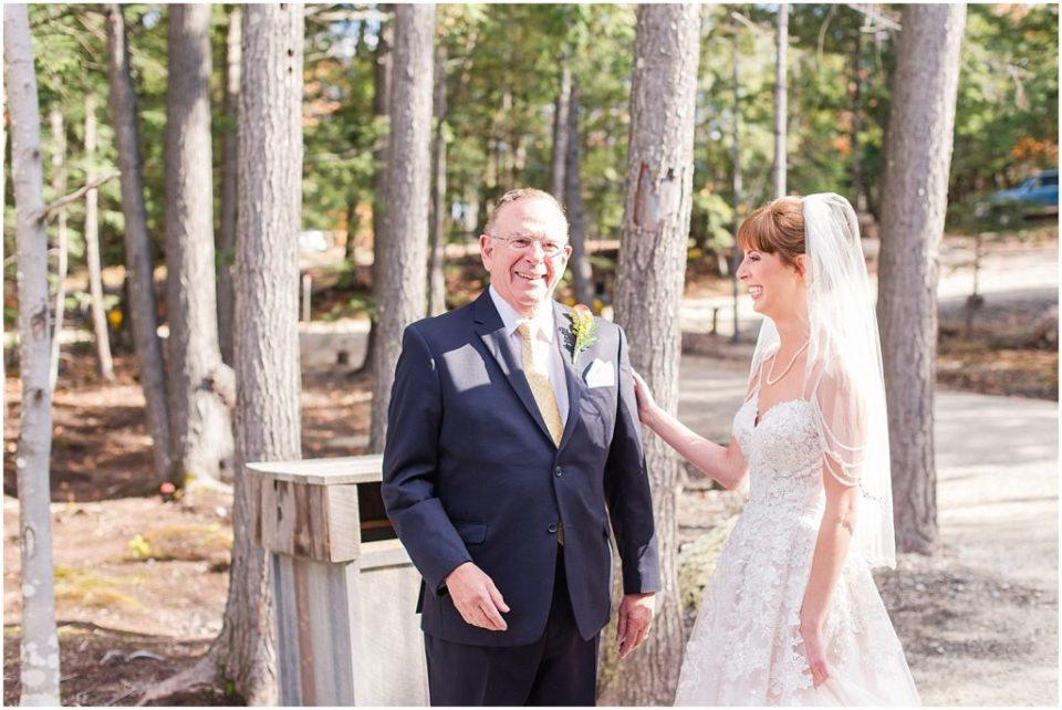 Caitlin's first look with her father at Granite Ridge Estate and Barn.