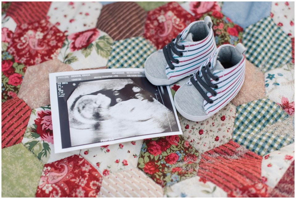 ultrasound and baby shoes for this ocean park maternity session
