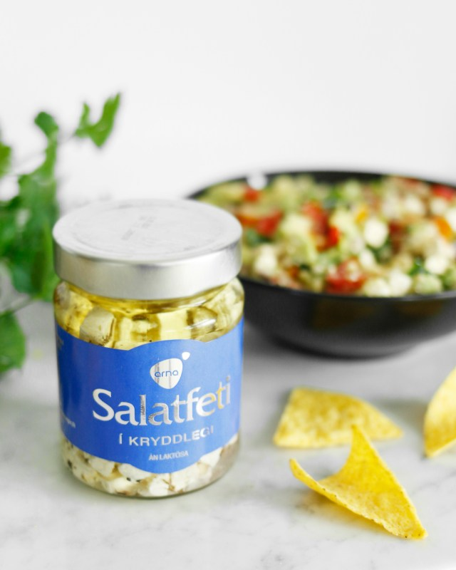 Fersk avocadó og fetaosts salsa, fersk ídýfa