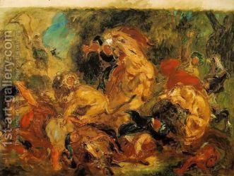 """Eugene Delacroix, """"The Lion Hunt"""" (1854)"""