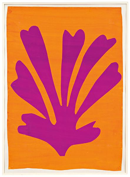 """Henri Matisse, """"Violet Leaf on Orange Background"""" (1947)"""