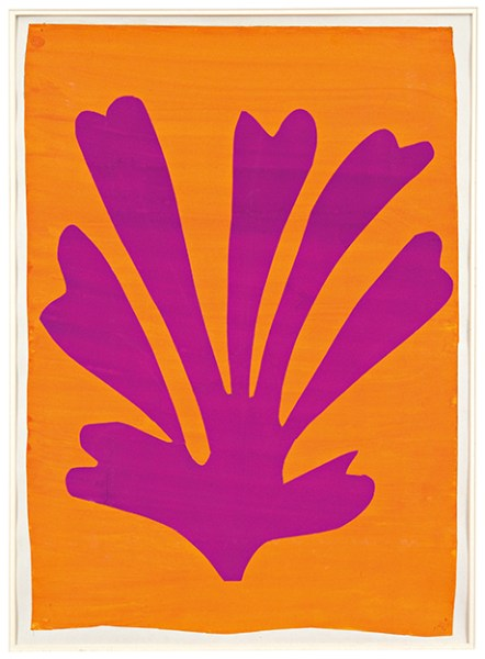"Henri Matisse, ""Violet Leaf on Orange Background"" (1947)"