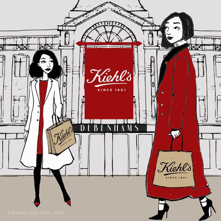 The opening of the Kiehls Store in Debenhams Cork, illustration, fashion, linda byrne, opening store illustration, fashion sketch.