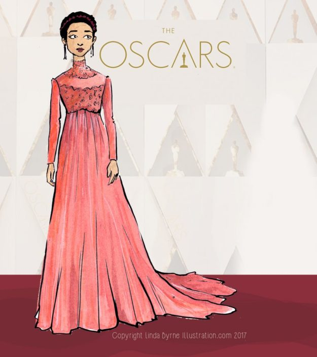 Fashion sketching, Emma Stone, La La Land, Oscars 2017 Red Carpet Fashion, Linda Byrne, Fashion Illustration, Ruth Negga, Taraji B Henson
