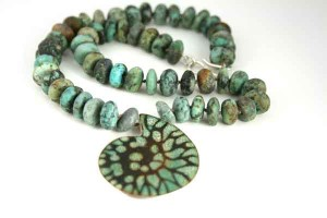 Turquoise Enamel Ammonite Fossil with Turquoise Beads
