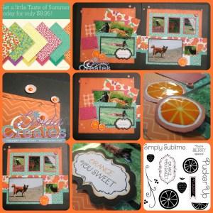 Taste of Summer Orange You Sweet Layout Collage Linda Creates ~ Linda Caler www.lindacreates.com www.lindacreates.ctmh.com