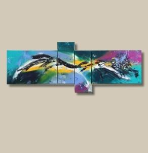 Tableau abstrait coloré quadriptyque bleu jaune violet - Color art