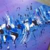 Tableau abstrait moderne bleu et violet, peinture abstraite moderne réalisé à la main