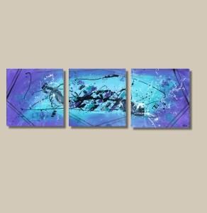 tableau abstrait bleu et violet triptyque