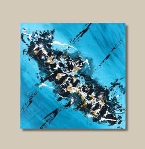 Tableau abstrait bleu ocre noir et blanc - Lagoa