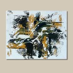 tableau abstrait bleu et ocre