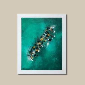 tableau abstrait vert et ocre