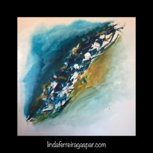 Tableau abstrait moderne peint à la main bleu et ocre - Idanha