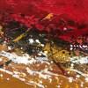 Tableau abstrait moderne, peinture abstraite moderne peinte à la main rouge blanc et ocre - Lousa