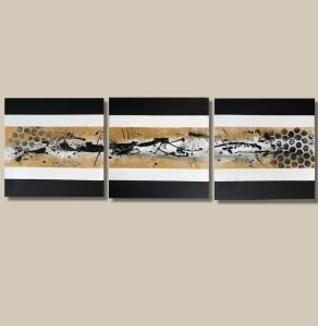 tableau abstrait moderne fait main doré et noir