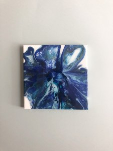 Tableau abstrait bleu peinture fluide