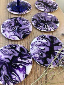 lot de 6 sous verres violet noir et blanc