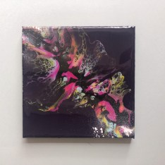 tableau fluide art pouring violet bleu rose