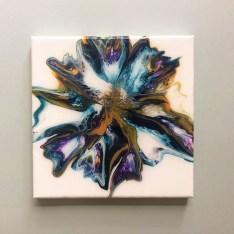 tableau art fluide bleu ocre et violet