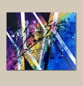 tableau abstrait moderne arc en ciel