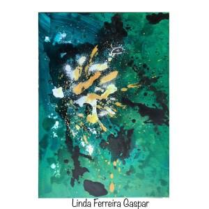 Tableau abstrait moderne fait main vert et ocre - Trofa