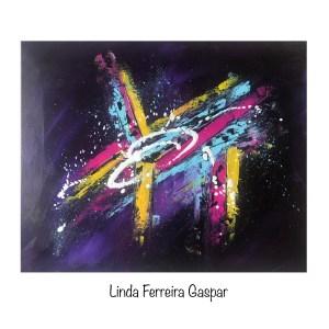 Tableau abstrait moderne coloré fait main bleu rose jaune et violet - Iris