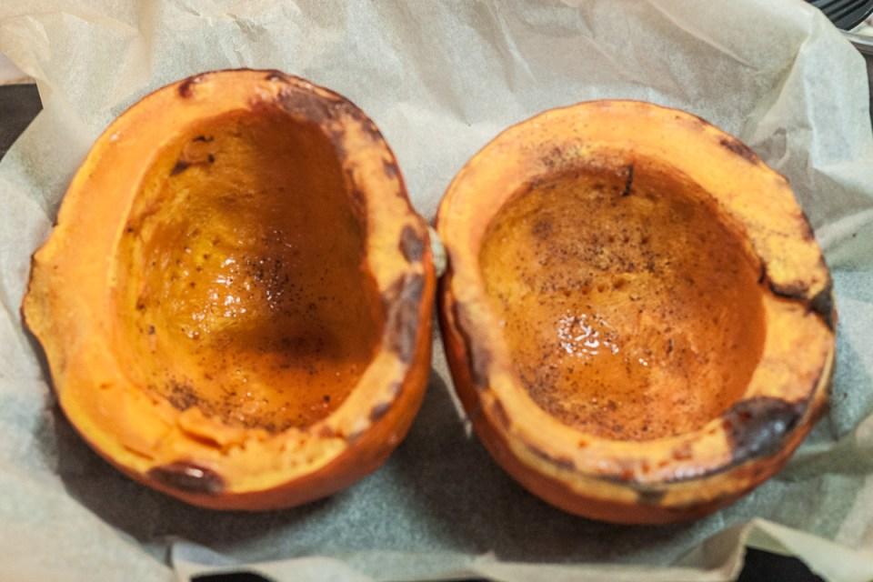 pumpkin halfes on baking tray