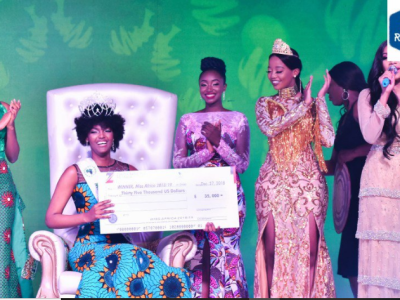 Shocking moment Miss Congo's wig caught fire after being crowned Miss Africa 2018