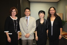 Dr. Glessner meets with representatives from the Nam My Vietnamese American Private School and Gisela Greco-Llamas.