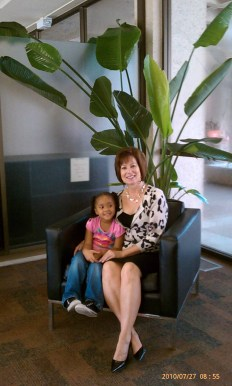Dr. Glessner posing with Laniya Roberson.