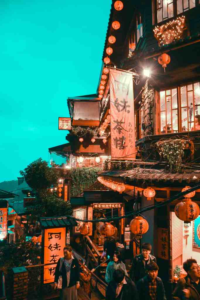 Night view of Amei Teahouse in Jiufen