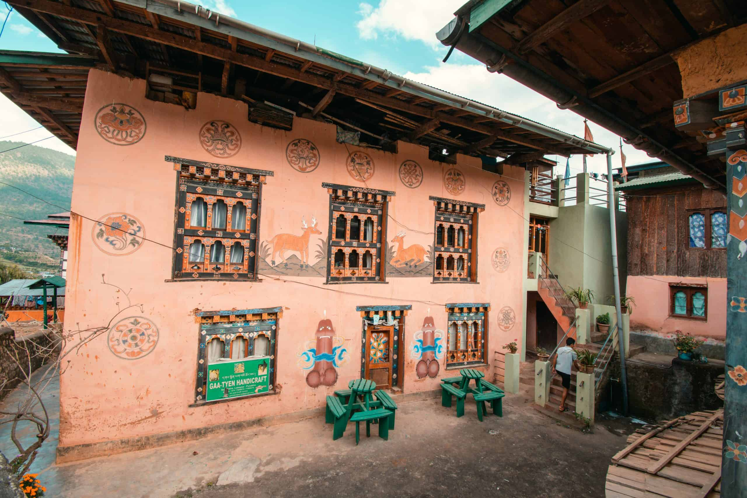 Phallus paintings in Bhutan