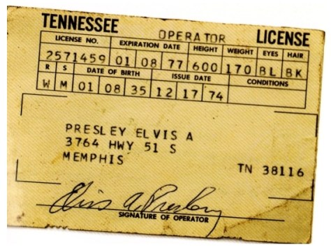 Elvis's drivers license which expired 1-8-1977