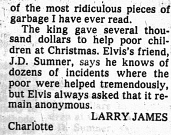 Elvis generosity 2nd