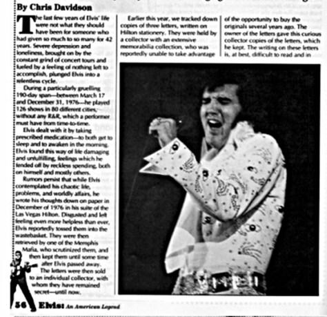 Elvis's notes written in Las Vegas Dec. 1976 Magazine article