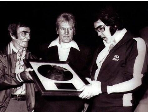 Elvis wearing DEA STAFF jacket on June 26, 1977 (very last show of tour)