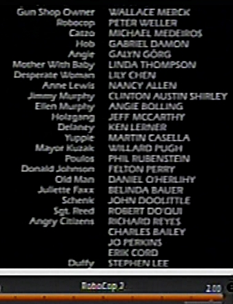 Linda Thompson's name in the credits of Robocop 2. Still from my video