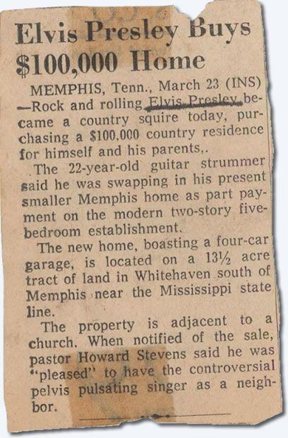 Elvis buys Graceland newspaper article