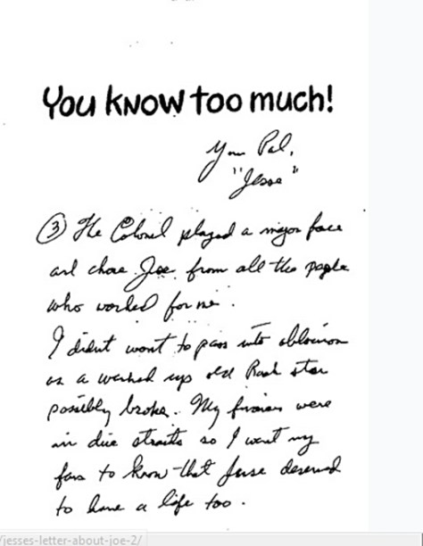 Jesse's letter about Joe for the book page 2