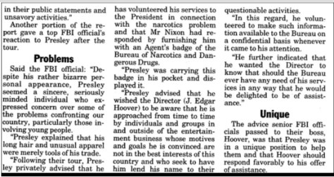 News article about Elvis fighting drugs contd 2