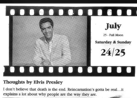Elvis calendar page - reincarnation