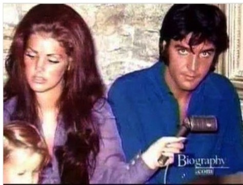 Elvis with his ex-wife and daughter in 1968