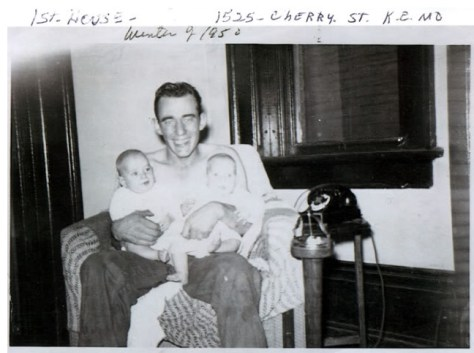 Jerry Presley's father with twins Jerry and Terry 1950