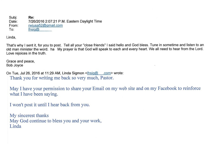 Pastor Joyce's confirmation permission for me to post