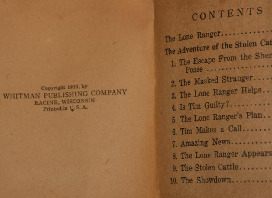 Elvis Jesse Lone Ranger book publication date 1935