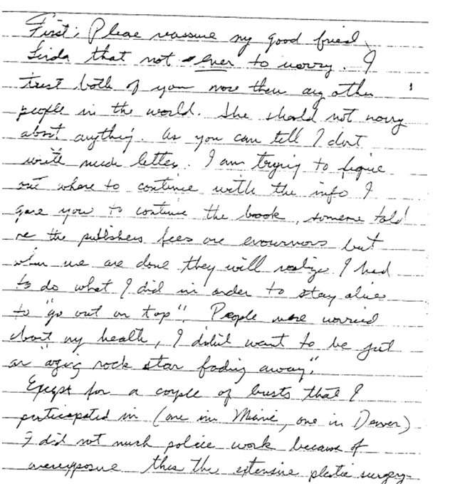 Jesse's letter about Miami police work page 1