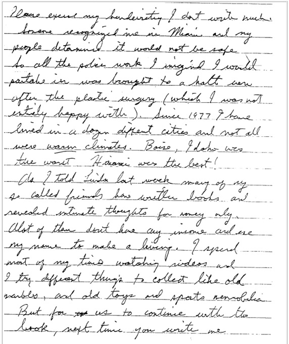 Jesse's letter about Miami police work, page 2
